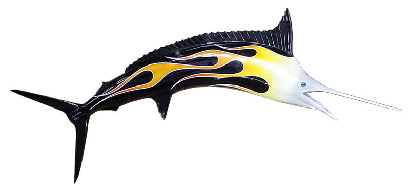 Image of fiberglass custom-painted hotrod 6ft Marlin sculpture