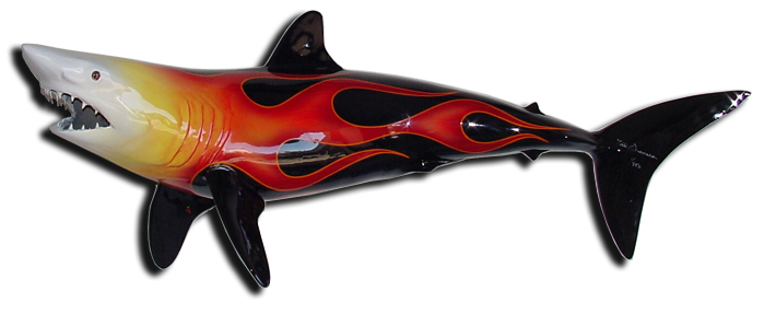 Pinstriped Mako Shark Sculpture