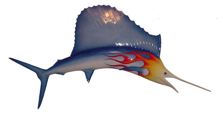 Image of 6ft Sailfish Sculpture with pinstripes