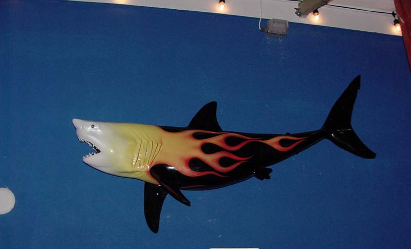 Image of fiberglass custom-painted hotrod flaming sailfish black x red