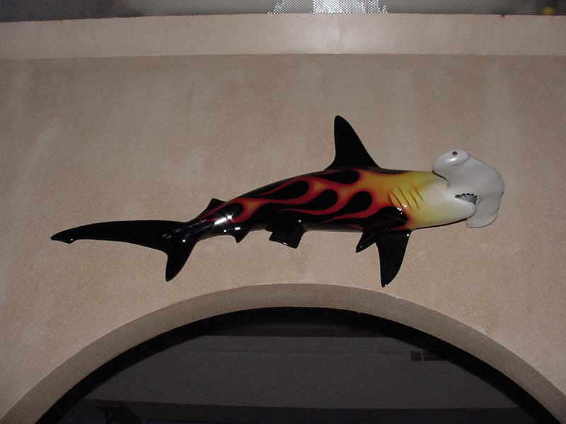 Image of fiberglass custom-painted hammerhead shark with flaming, flamed fiberglass, fire!!!