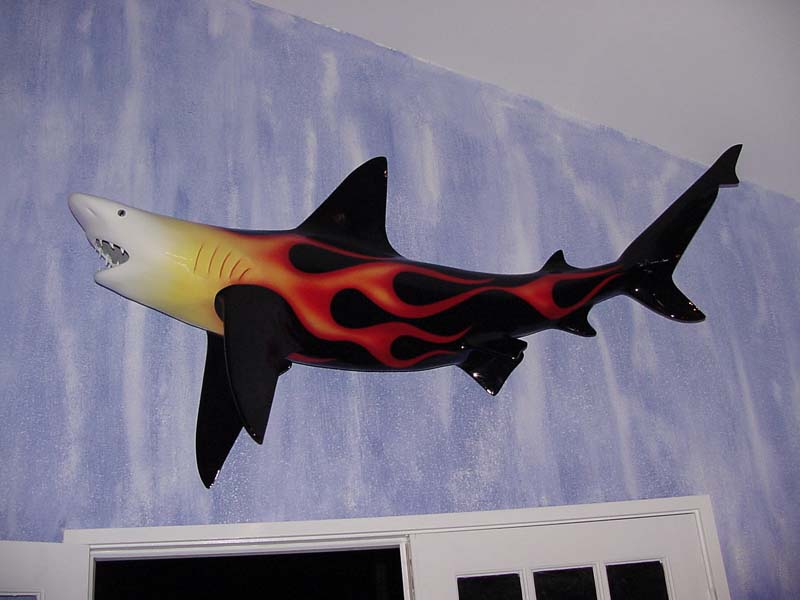 Image of fiberglass custom-painted hotrod flaming blacktip shark