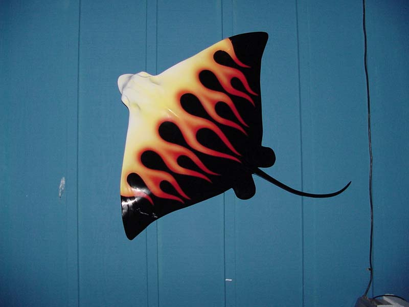 Image of fiberglass custom-painted hotrod flaming Bat Ray