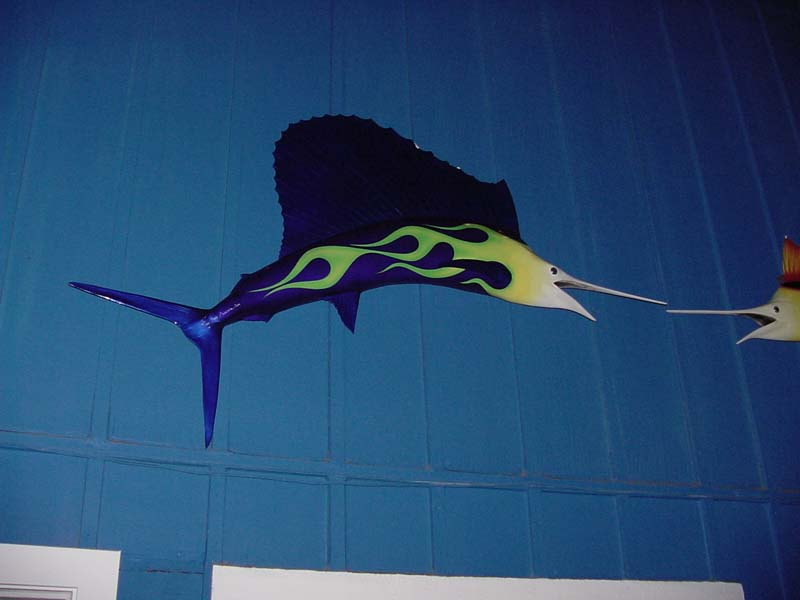 Image of fiberglass custom-painted hotrod flaming sailfish